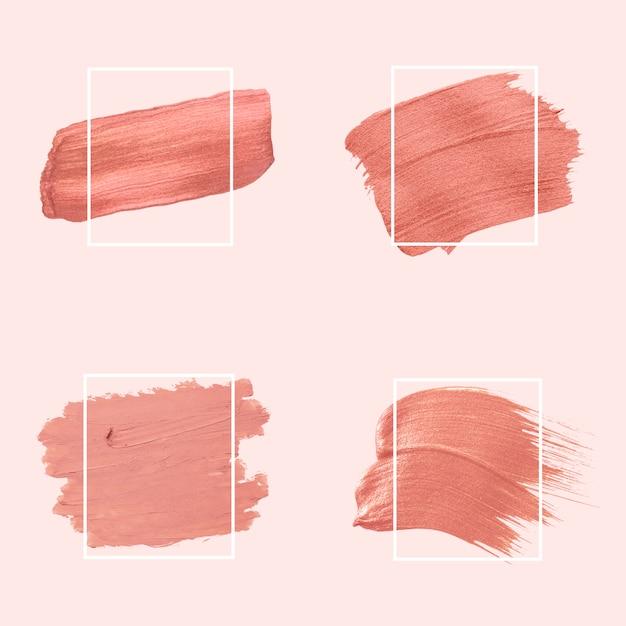 Roze penseelstreken collectie Gratis Vector