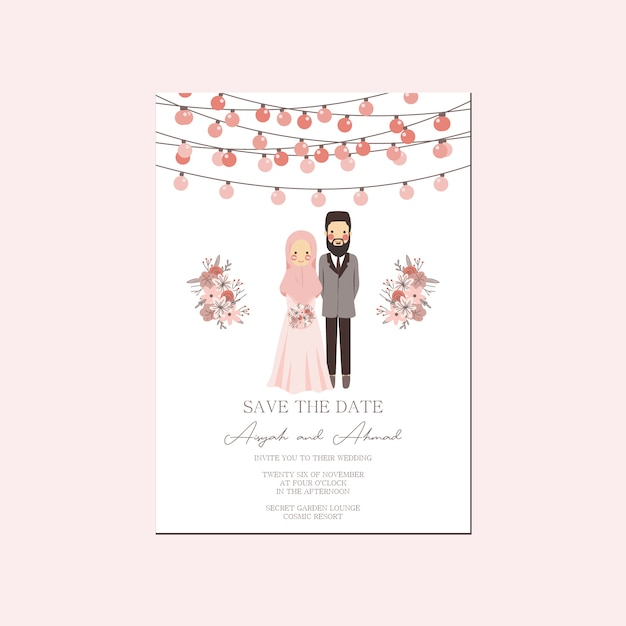 Roze perzik lantaarn moslim paar portret bruiloft uitnodiging - walima nikah save the date template Premium Vector