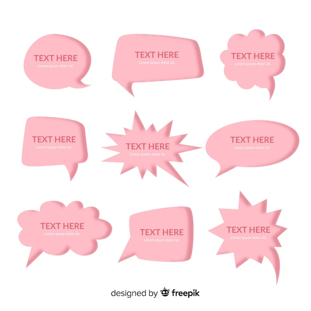 Roze platte ontwerp tekstballonnen in papierstijl Gratis Vector