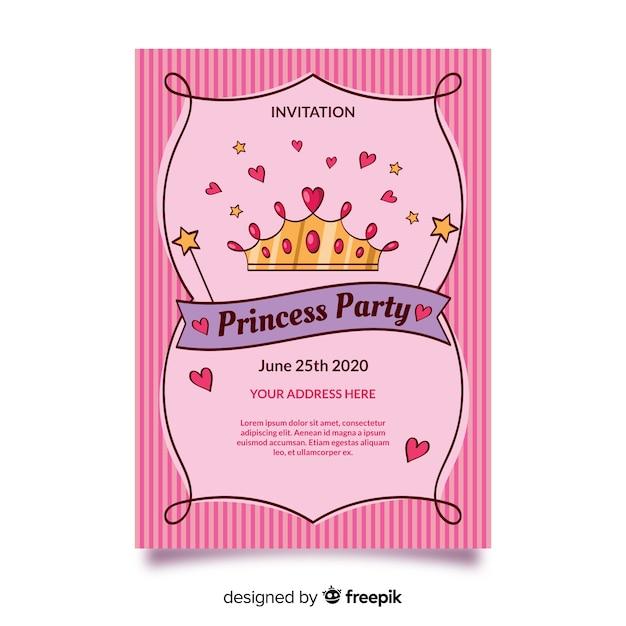 Roze prinses partij uitnodigingssjabloon Gratis Vector