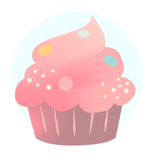 Roze romige cupcake ontwerp vector Gratis Vector