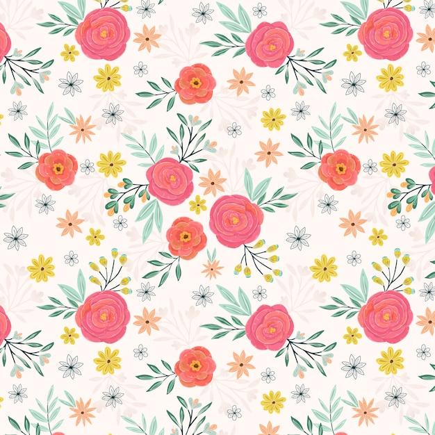 Roze rozen zomertuin naadloze patroon Premium Vector