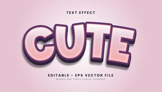 Roze schattig stijl teksteffect Premium Vector