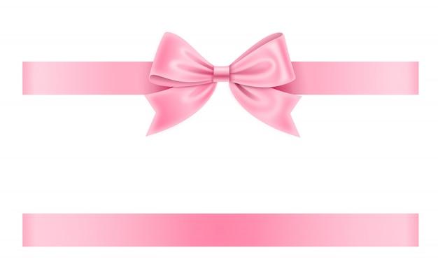 Roze strik en lint Premium Vector