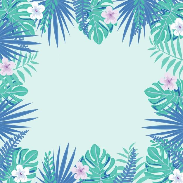 Roze tropisch bloemen en bladerenkader op lichte achtergrond. floral border. Premium Vector