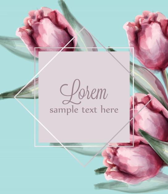 Roze tulpenbloemen op blauwe achtergrondkaartwaterverf Premium Vector