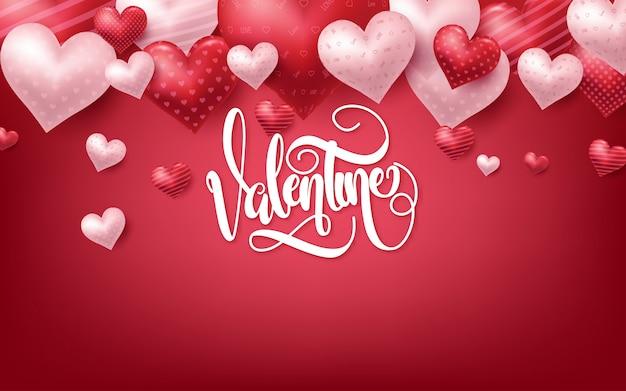 Roze valentijnsdag achtergrond met 3d harten op rood Premium Vector