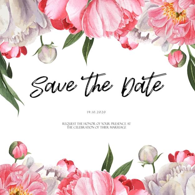 Roze van de het waterverfhuwelijk van de pioen bloeiende bloem botanische kaarten van de het huwelijksuitnodiging bloemenaquarelle Gratis Vector