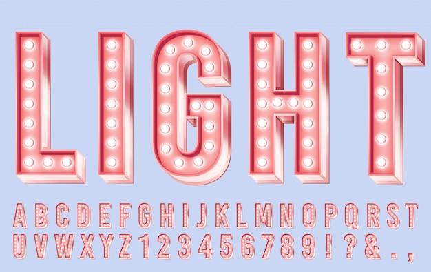 Roze verlichting lettertype. alfabetletters met bollen, retro cijfers en heldere bollichten in brievenillustratie Premium Vector