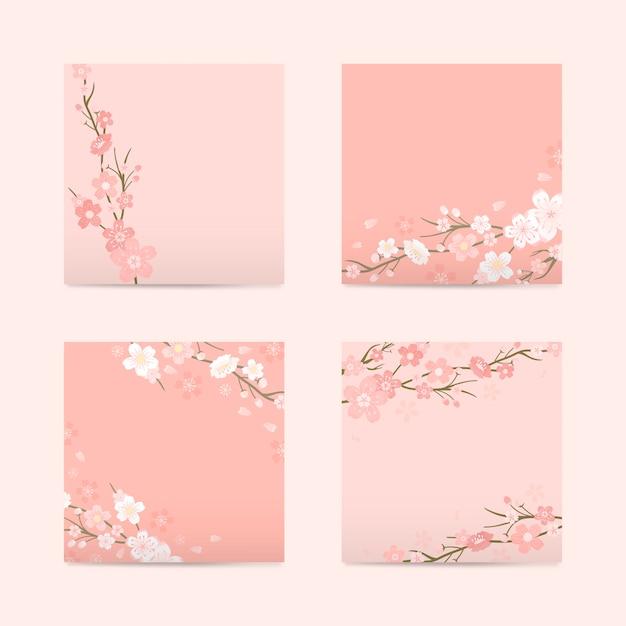 Roze vierkante kersenbloesem papier vector Gratis Vector