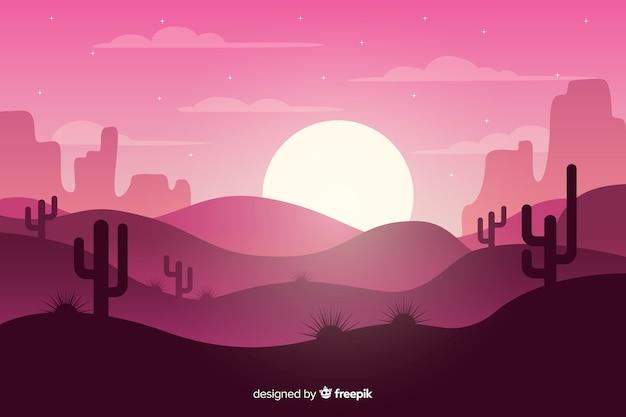 Roze woestijnlandschap met maan Gratis Vector
