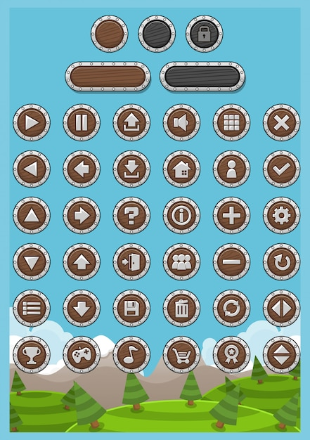 Rpg game button pack Premium Vector