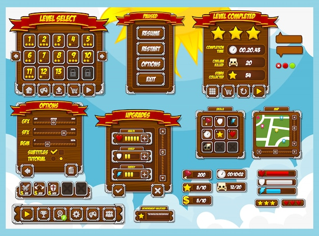 Rpg game gui-pakket Premium Vector
