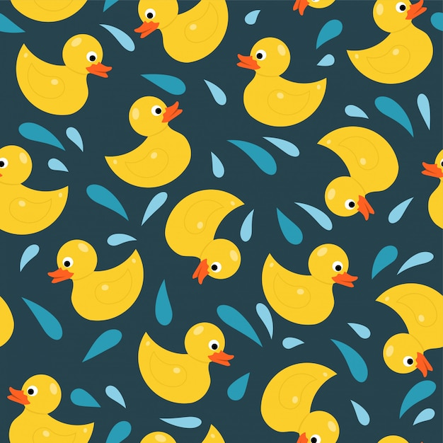 Rubber duck toy seamless pattern Premium Vector