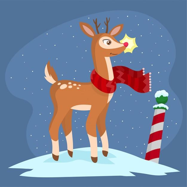 Rudolph het rendier in noordpool Premium Vector