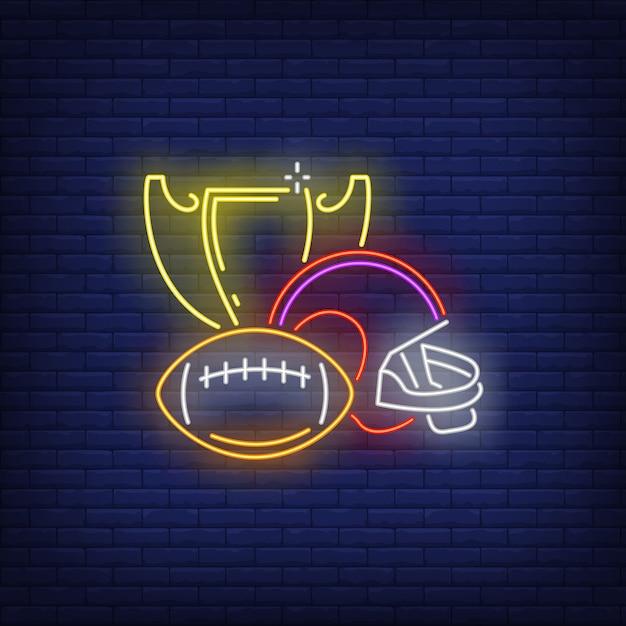 Rugby geeft neonreclame uit Gratis Vector