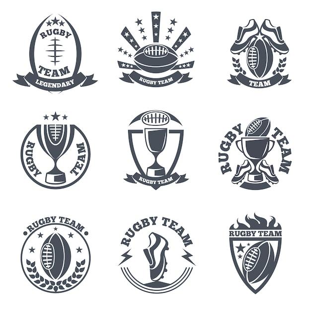 Rugbyteam badges en logo's. sportvoetbal, embleembal Premium Vector