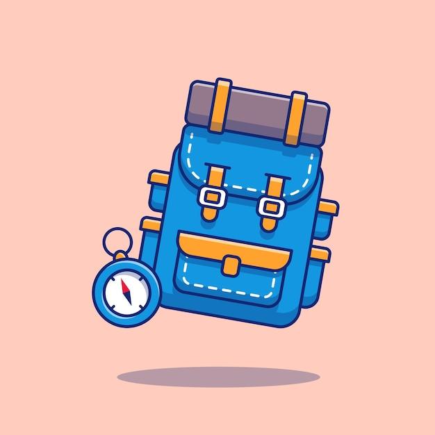 Rugzak met kompas cartoon afbeelding. wandelen en reizen pictogram concept Premium Vector