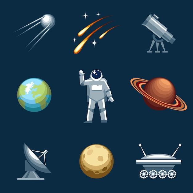 Ruimte en astronomie-elementen instellen. Gratis Vector