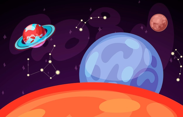 Ruimte en planeet landschap vectorillustratie. planeten oppervlak met kraters, sterren en kometen in donkere ruimte. ruimtehemel met saturnus, aarde en venus en sterrenbeeld. Premium Vector