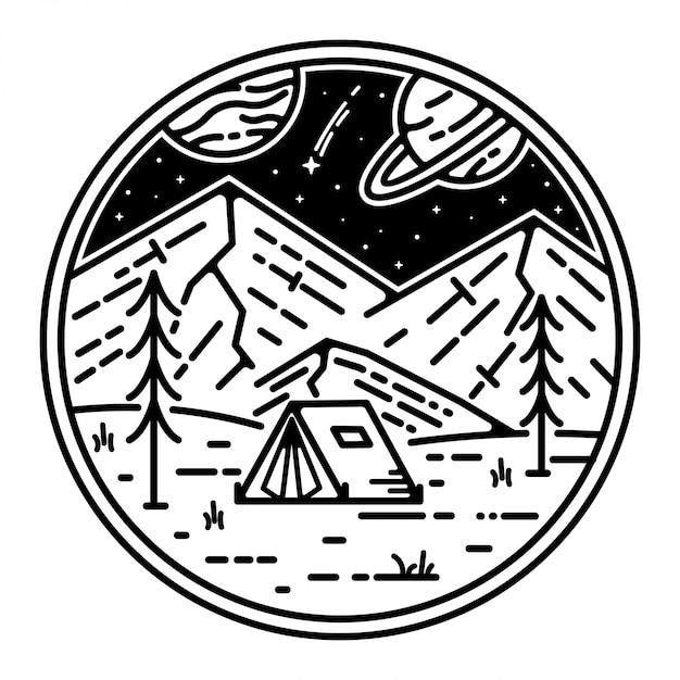Ruimte landschap tatto monoline ontwerp Premium Vector