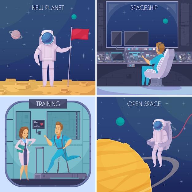 Ruimte ontbreekt 4 cartoon pictogrammen concept met medische tests training en astronaut in open ruimte geïsoleerd Gratis Vector