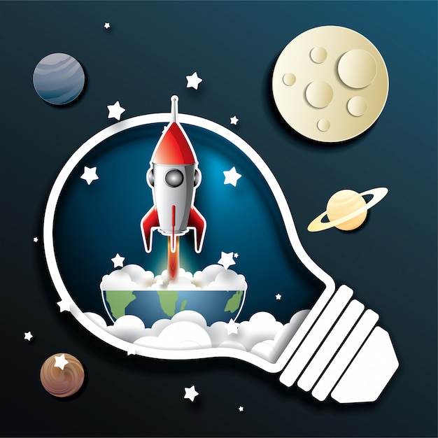 Ruimte-raketlancering en sterrenstelsel Premium Vector