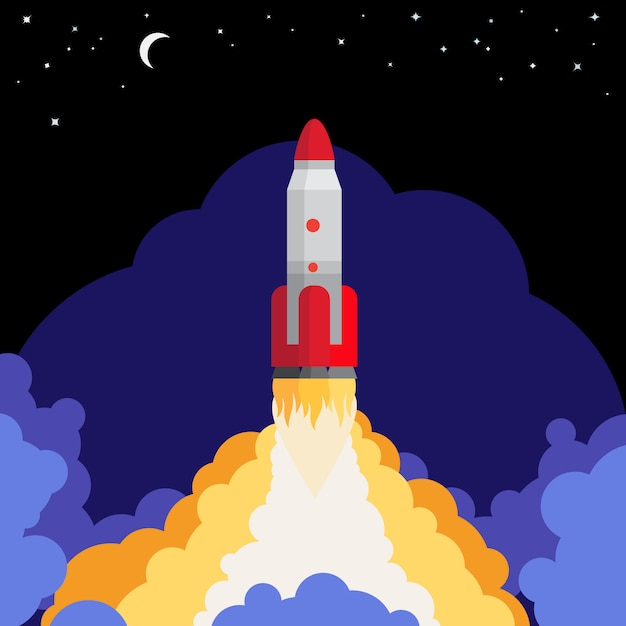 Ruimte raketlancering tegen de achtergrond van de nachthemel Premium Vector