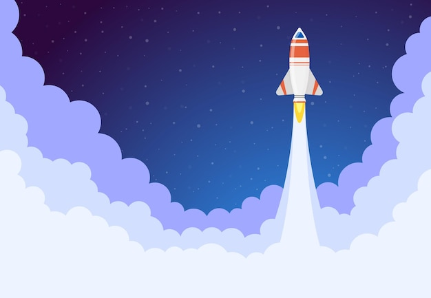 Ruimte raketlancering Premium Vector