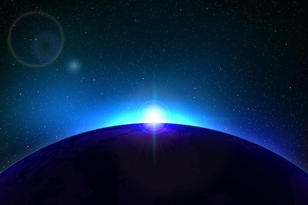 Ruimteachtergrond met totale zonneverduistering voor uw ontwerp Premium Vector