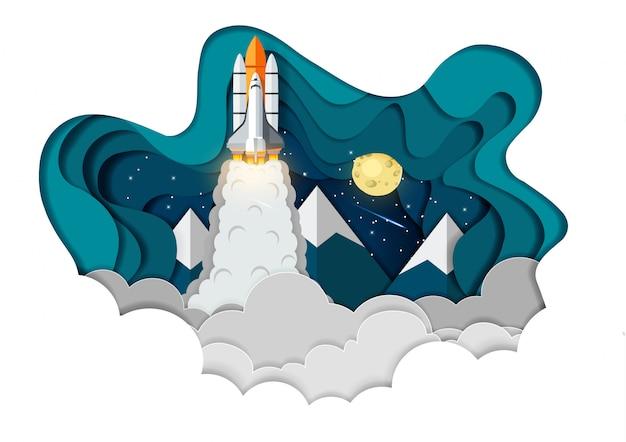Ruimtependel lancering aan de hemel, start bedrijfsfinanciënconcept, vectorkunst en illustratiedocument Premium Vector