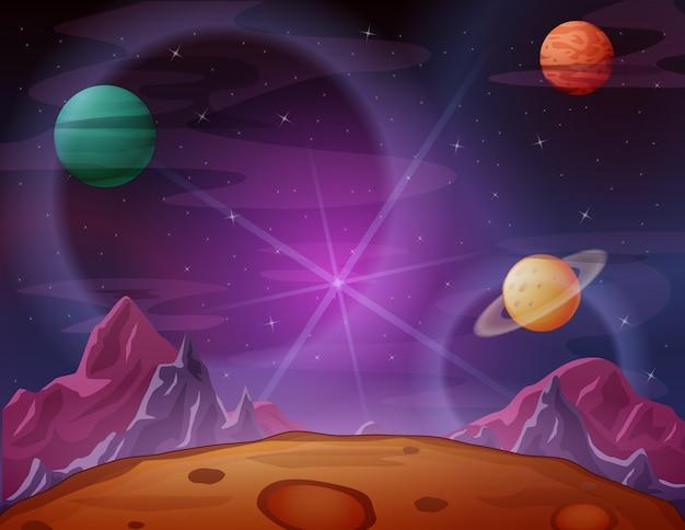 Ruimtescène met paarse ruimtehemel Premium Vector