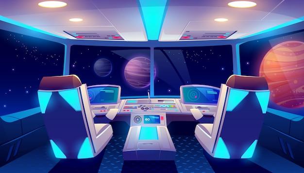 Ruimteschip cockpit interieur en planeten bekijken Gratis Vector