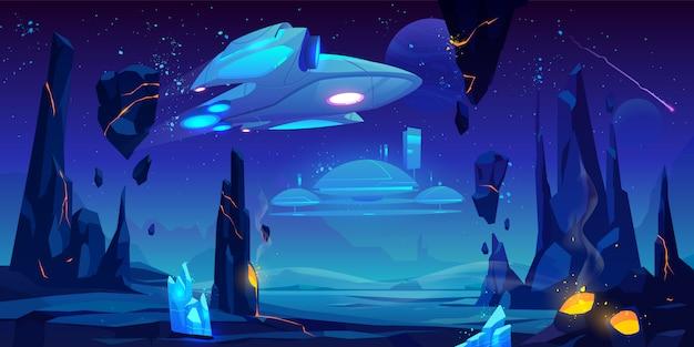 Ruimteschip, interstellair station op buitenaardse planeet Gratis Vector