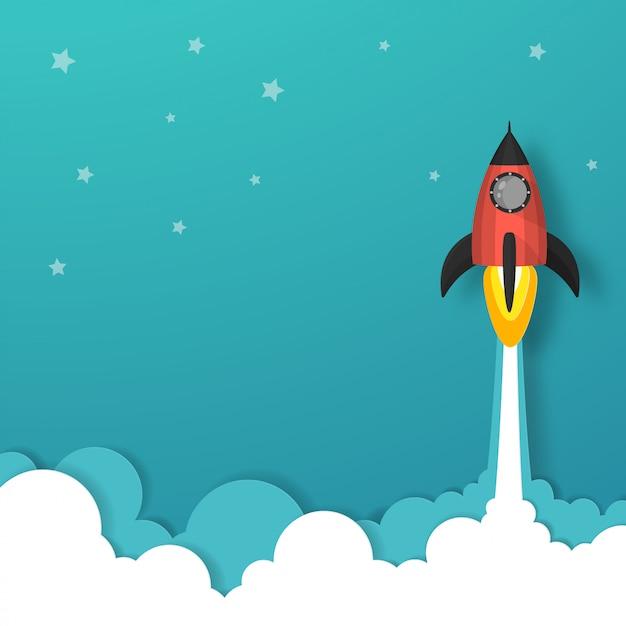 Ruimteschip of raketlancering in de lucht over de wolken gaat naar de ster. Premium Vector