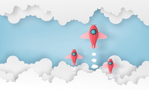 Ruimteschip of vliegtuig lancering in de lucht over de wolken. Premium Vector