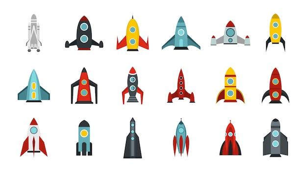 Ruimteschip pictogramserie. vlakke set van ruimteschip vector iconen collectie geïsoleerd Premium Vector