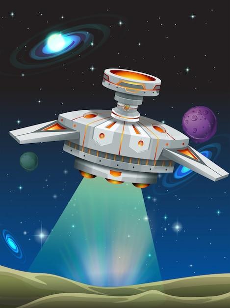 Ruimteschip stijgt op van de planeet Premium Vector