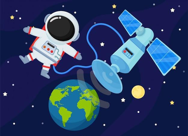 Ruimtestation verzend het signaal terug naar de aarde. Premium Vector