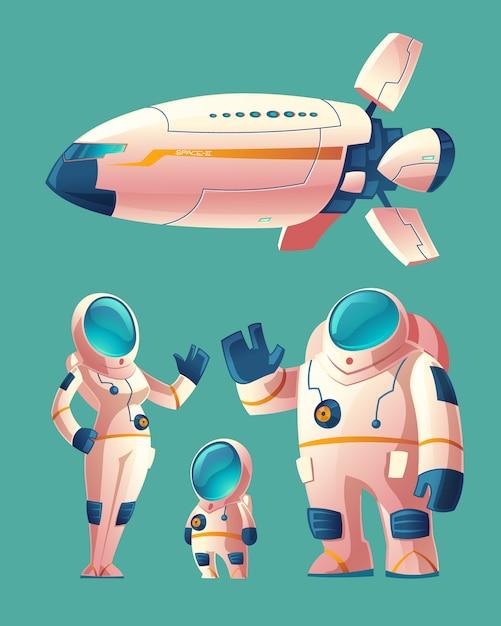 Ruimtevaarderfamilie, mensen in ruimtepak - vrouw, man, kind met ruimteschip, shuttle Gratis Vector