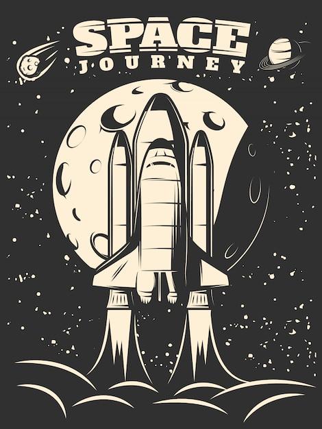 Ruimtevaart monochroom print met shuttle lancering op maan en sterrenhemel Gratis Vector
