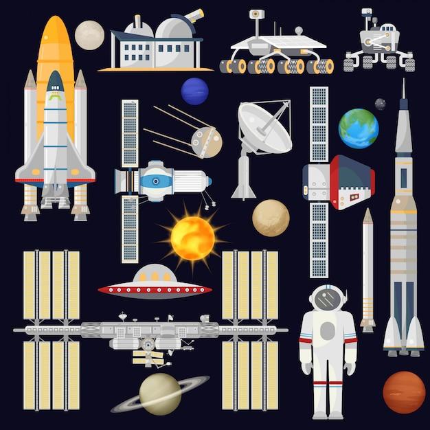 Ruimtevaartuigen en ruimtevaartindustrie Premium Vector