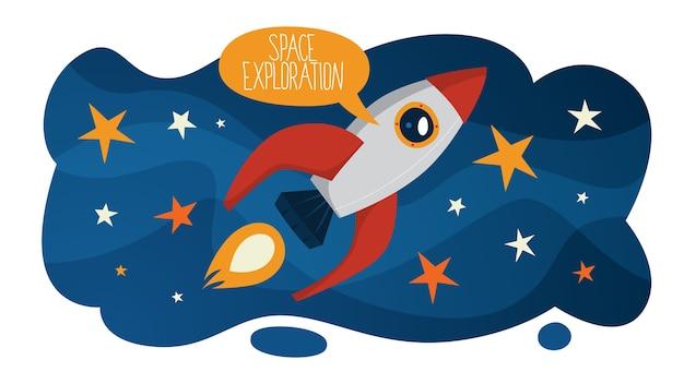 Ruimteverkenning en reizen in melkwegconcept. idee van astronaut onderzoekt de nieuwe planeet. astronomie en techniek, moderne technologie. vliegende raket. illustratie Premium Vector