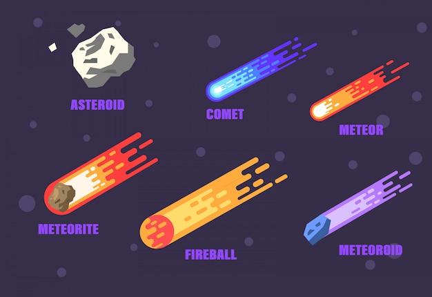 Ruimtevoorwerpen. asteroïde, komeet, meteoor, vuurbol, meteoriet en meteoroïde. Premium Vector