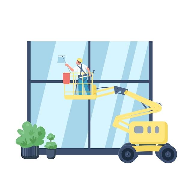 Ruitenreiniger egale kleur gezichtsloos karakter. conciërge op lift wassen gebouw buitenkant geïsoleerde cartoon afbeelding voor web grafisch ontwerp en animatie. commerciële schoonmaakdienst Premium Vector