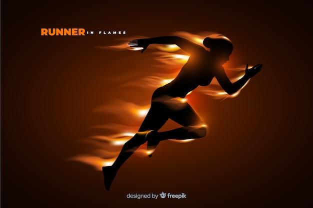 Runner silhouet in vlammen platte ontwerp Gratis Vector