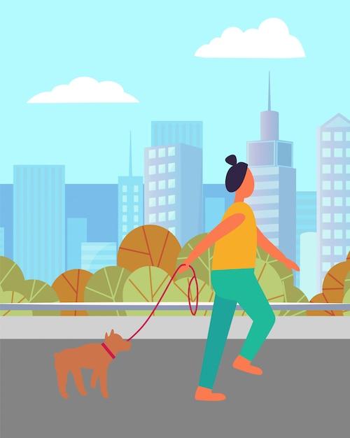 Runner vrouw en hond in de stad, activiteit vector Premium Vector