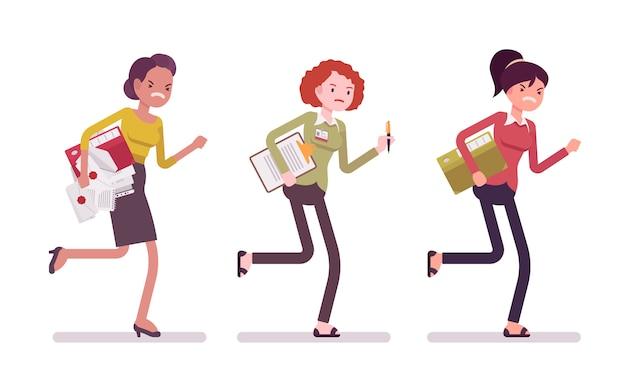Runnig vrouwen met mappen Premium Vector