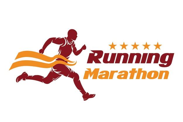 Running en marathon logo design, illustratie vector Premium Vector