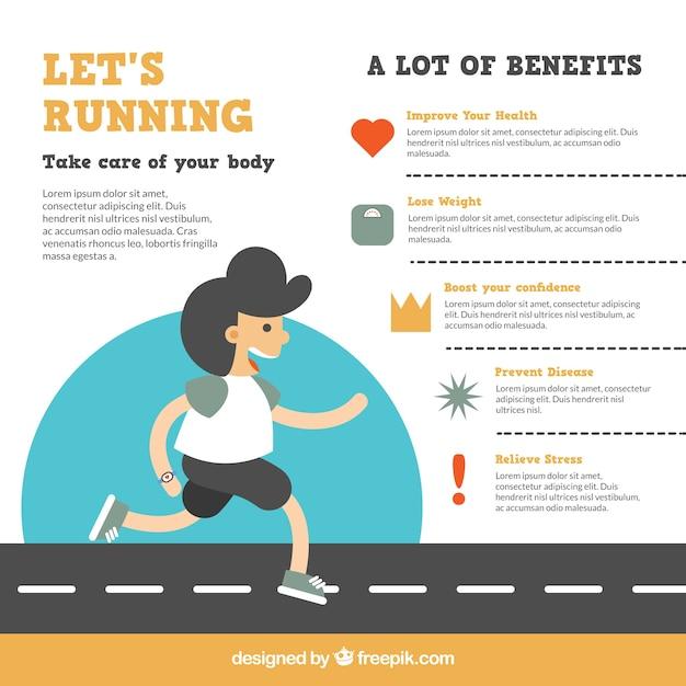 Running infographic met lachende man Gratis Vector
